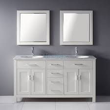 Double Sink Vanity Top 60 by 63 Inch Double Sink Bathroom Vanity With Marble Top In White