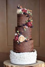 Rustic And Organic Wedding Cake With Chocolate Ganache Ruffles Handmade Sugar Blackberries Hypericum Berries Peonies Leaves Twi
