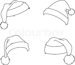 Outlined Santa Hats Coloring Page Vector