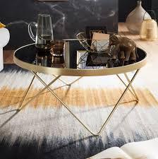 finebuy design couchtisch ø 82 cm schwarz matt gold beistelltisch metall glas tisch mit glasplatte ablagetisch modern großer wohnzimmertisch