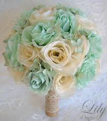 17 Piece Package Wedding Bridal Bouquet Silk Flowers Bouquets Maid Bridesmaid Party MINT IVORY RUSTIC Burlap Lace Lily Of Angeles TIIV02