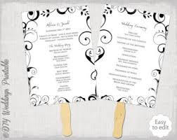 Wedding Program Fan Template Scroll Black And White DIY Order Of Ceremony Printable