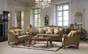 Classic Living Room Design With Carved Wood Furniture And Crystal Chandelier