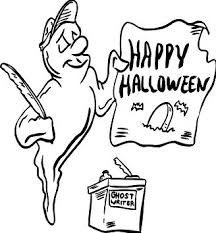 A Ghost Holding Happy Halloween Sign