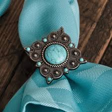 Turquoise Concho Napkin Rings