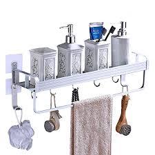 yeegout selbstklebend duschregalmit handtuchhalter und haken aluminium verdickung ohne bohren wandmontage badezimmer regal 1 stufe