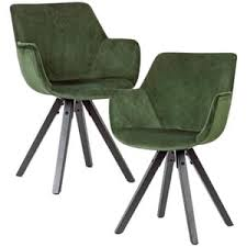 wohnling 2er set esszimmerstuhl samt grün mit armlehnen küchenstühle modern mit schwarzen beinen bequemer schalenstuhl gepolstert