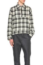 gosha rubchinskiy flannel shirt with zipper in gray lyst