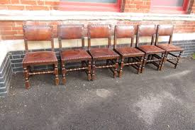 Set Of 6 Antique Oak Studded Leather Dining Chairs C.1910 ...
