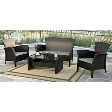 cascade contemporary 4 piece patio conversation set black