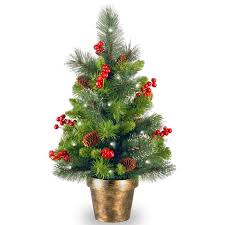 Spruce Small 2 Green Artificial Christmas Tree With 35 White Lights LED