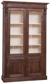 casa padrino landhausstil bücherschrank dunkelbraun creme 119 x 39 x h 197 cm wohnzimmerschrank mit 4 türen massivholz schrank
