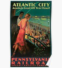 Vintage 1930s Atlantic City NJ Railroad Travel Advertising Poster