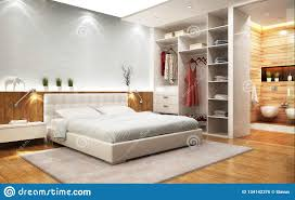 modern design bedroom with bathroom and closet stock