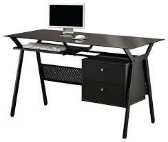 desk black simple metal glass 2 storage drawers pullout keyboard