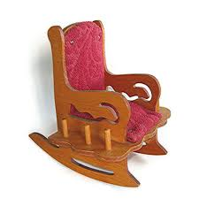 Vintage Pincushion Wood Upholstered Rocking Chair Circa ...
