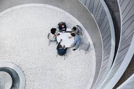100 Atrium Architects View From Above Architects Meeting In Atrium Courtyard Stock Photo