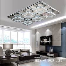 modern led ceiling light square lustre de cristal