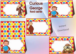 Curious George Toddler Bedding by Curious George Food Labels Food Tents Cards Tags Curious