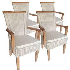 voglrieder esszimmer stühle set mit armlehnen 4 stück rattanstuhl weiß perth leinen weiß mit sitzkissen möbel und schönes