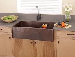 Rustic Kitchen Design With Farmhouse Dark Brown Copper Sinks Laminate Grey Marble Countertops