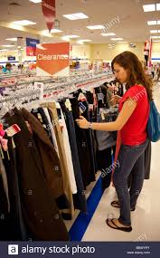 teenage girl shopping clothes marshalls store usa stock