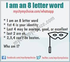 I am an 8 letter word 1st 4 is your identity