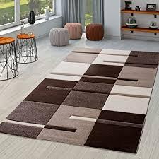 t t design moderner wohnzimmer teppich braun beige creme karo muster mit konturenschnitt größe 60x110 cm