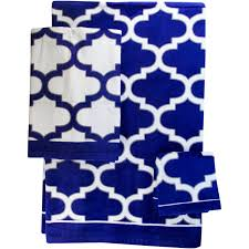 Walmart Purple Bathroom Sets by Mainstays Fretwork Navy White Towel Towel Collection Walmart Com