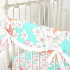Aqua And Coral Crib Bedding by Floral Baby Bedding Flower Crib Bedding Flower Nursery