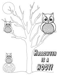 Owls Coloring Page Halloween Is A Hoot
