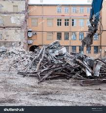 Demolition Truck Action Heap Rubble Demolished Stock Photo (Royalty ...