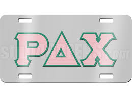 Rho Delta Chi License Plate with Pink and Teal Letters on Silver