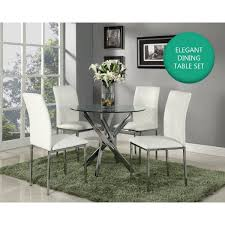Luxury White & Chrome Round Glass Dining Table & 4 Chairs Set - Home ... Amazoncom Coavas 5pcs Ding Table Set Kitchen Rectangle Charthouse Round And 4 Side Chairs Value City Senarai Harga Like Bug 100 75 Zinnias Fniture Of America Frescina Walmartcom Extending Cream Glass High Gloss Kincaid Cascade With Coaster Vance Contemporary 5piece Top Chair Alexandria Crown Mark 2150t Conns Mainstays Metal Solid Wood Round Ding Table Chairs In Tenby Pembrokeshire Phoebe Set Marble Priced To Sell