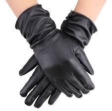 amazon com simplicity fashion women u0027s black faux leather gloves