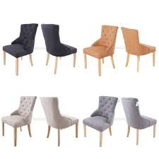 Ebay Patio Furniture Uk by Foxhunter New Linen Fabric Dining Chairs Scoop Tufted Back Office