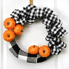 Drilled Pumpkin Designs by Buffalo Check Pumpkin Wreath For Fall Easy Tutorial