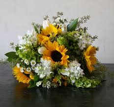 Bridal Bouquet Of Sunflowers Bells Ireland Stock Seeded