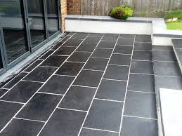 Removing Grout Haze From Porcelain Tile by Slate Patio Tiles Treated For Grout Haze And Sealed In Brackley