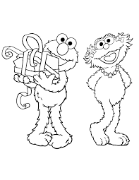 Elmo And Zoe Best Friends Coloring Page