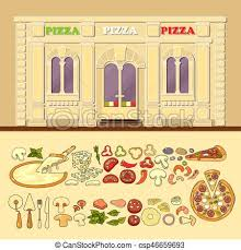 Pizzeria And Set Of Cute Various Pizza Ingredient Icons
