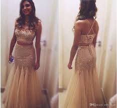 2016 sparkly crop top two piece prom dresses indian bling