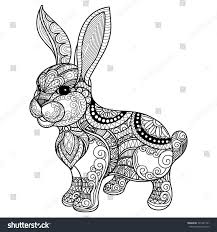 Hand Drawn Zentangle Rabbit For Coloring Book Adult Shirt Design Pattern