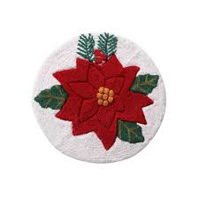 Christmas Red Bathroom Rugs by Poinsettia 24