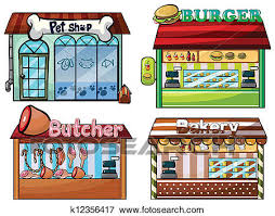 Clip Art Petshop burger stand butcher shop and bakery Fotosearch