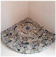 sliced pebble shower floor with trout sliced pebble on curb