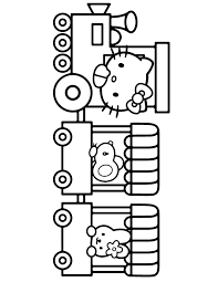 Hello Kitty Driving Train With Friends Coloring Page