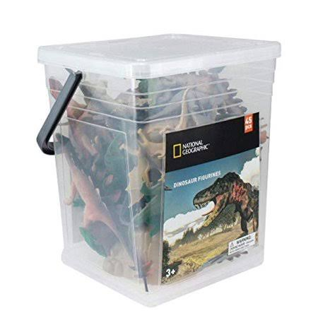 National Geographic Wenno USA Large Bucket of Dinosaur Figurines, 45 Pieces
