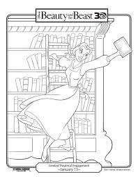 Belle In Library Coloring Page