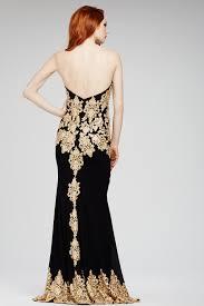 jovani 31126 black dress strapless sweetheart gold lace appliques